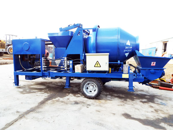 trailer concrete mixer with pump