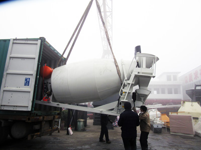 delivering concrete truck