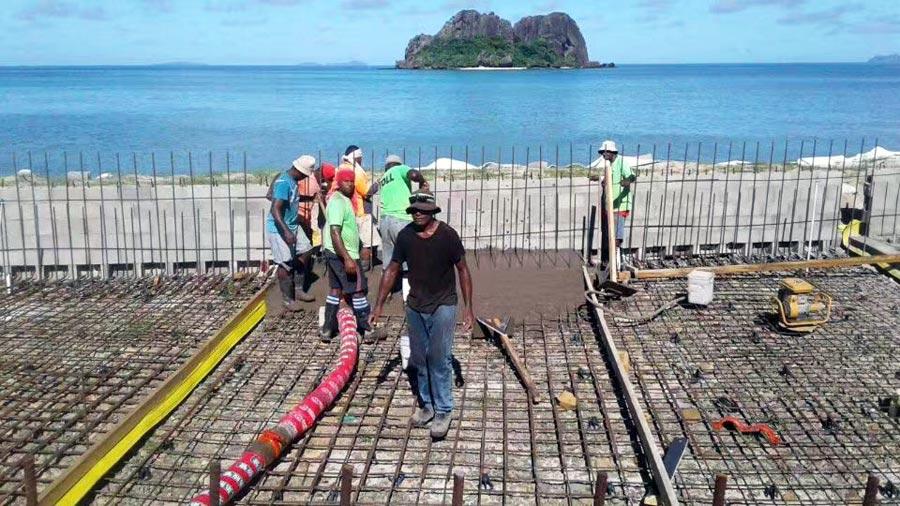 Aimix concrete mixer pump on Papua New Guinea construction sites